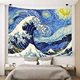 Ofat Home Wall Hanging Van Gogh Art Tapestry Starry Night and Great Wave Fuji Mountain Japanese Artistic Combination Oil Painting, Fabric Blue Tapestry for Home Bath Decor (59''x78.7'')