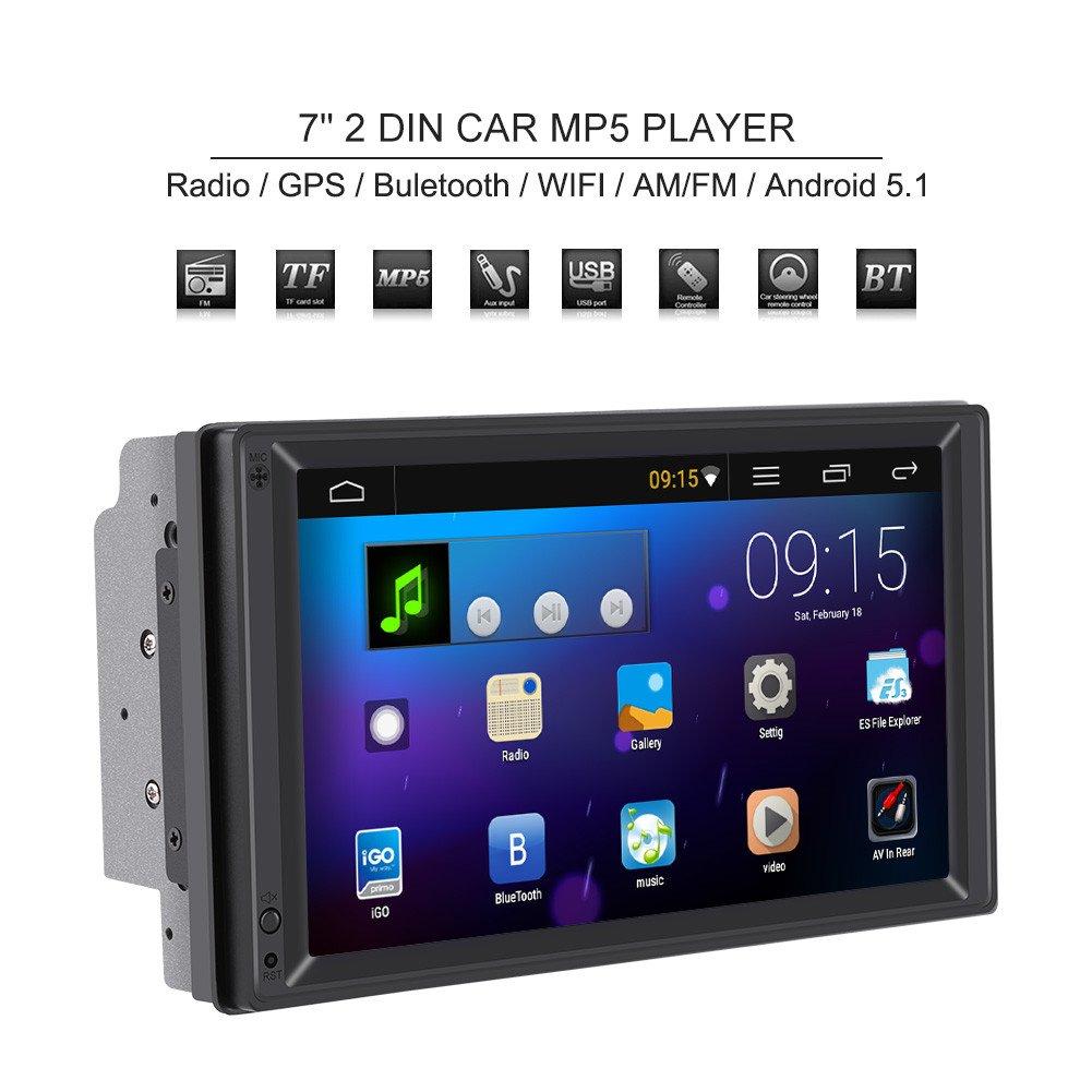 Qiilu 7' 2 Din Auto MP5 Player Touch Screen Stereo Radio Multimedia con SD GPS BT WIFI AM/FM Navigatore (3 Anni Garanzia)