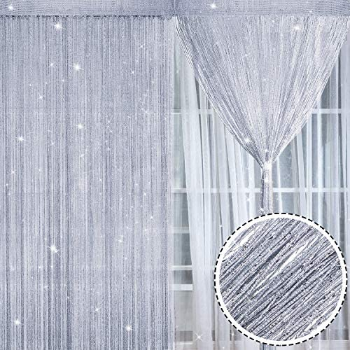 2 Pezzi Tende Fili Glitterate Pannelli Tenda di Cotone Finestra Porta Stringa Tende Antimosche, 100 x 200 cm (Argento)