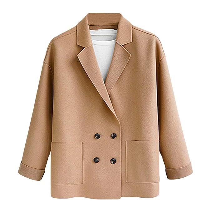 Abrigo Mujeres, LANSKIRT Mujer Tallas Grandes Color Sólido Felpa de Doble Cara Bolsillo Abrigo Suelto