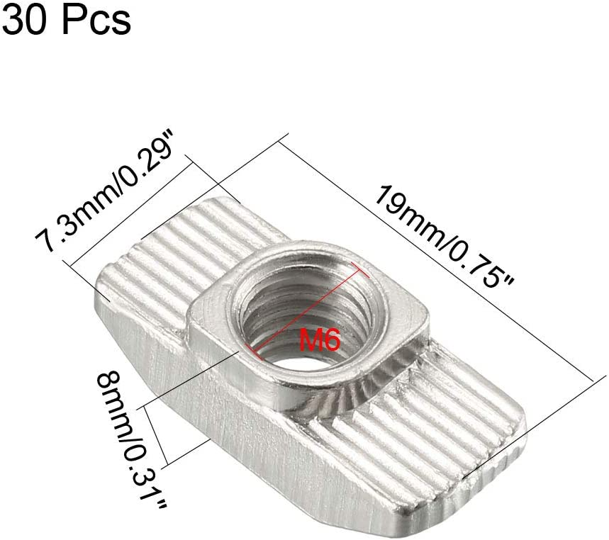 M4 Half Round Roll in T-Nut for 2020 Series Aluminum Extrusion Profile Pack of 50 uxcell Sliding T Slot Nuts Carbon Steel Nickel-Plated