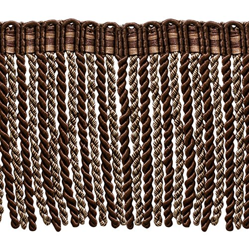 DÉCOPRO 5.4 Yard Value Pack of 6 Inch Long Bullion Fringe Trim, Style# DB6 - Dark Brown, Sand - Espresso Latte D2A2 (16 Ft / 5 Meters)