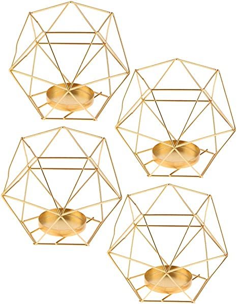 2Pcs 3D Geometric Tealight Candle Holder Party Candlestick Candelabra Golden