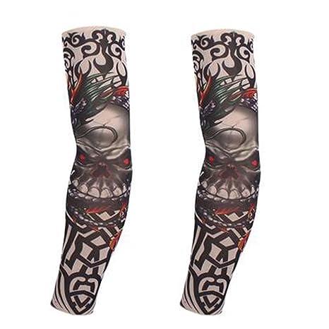 BLANCHO BEDDING 1 par de Tatuaje de Calavera Fresco Mangas del Sol ...