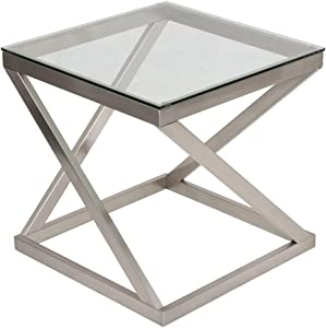 Signature Design by Ashley - Coylin Glass Top Square End Occasional End Table, Blushed Nickel Finish
