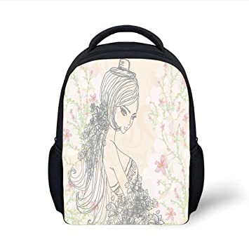 5326ad83f2bc Amazon.com: iPrint Kids School Backpack Girls Room Decor,Drawing of ...