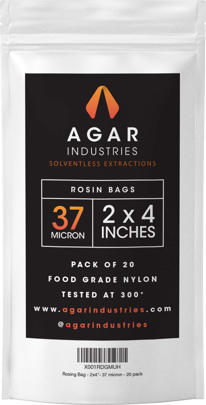 Agar Industries - Rosin Press Filter Bag -Screens for Solventeless Oil Extractions in Rosin Tech (20 pack, 2x4 in. 37 micron)