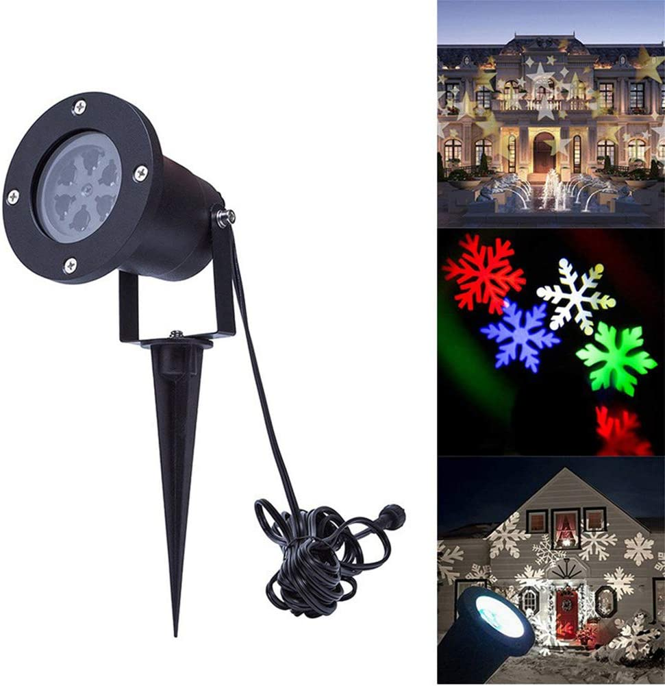 2 in 1 Moving Outdoor Colorful Snowflakes Blue Ocean Wave LED Projector Light UK