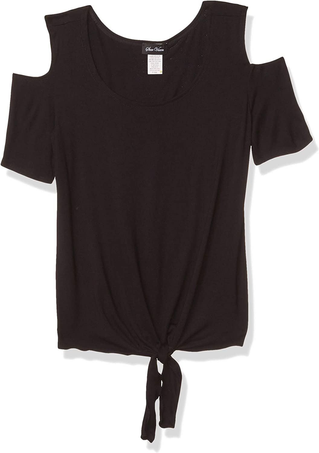 Star Vixen Womens Petite Short Sleeve Classic Tiefront Brushed Knit Top