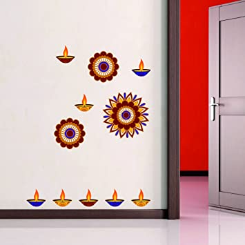Asian Paints Wall Ons Beautiful Pattern Diya Wall Sticker For Living Room,  Office, Hall