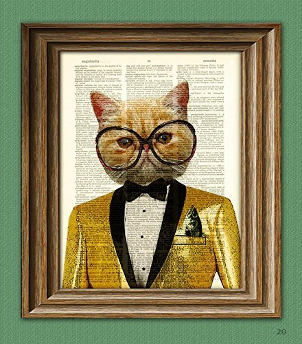 Litterbox Lewis' Opening Night at the Cat-sino Fabulous Cat with bling jacket and glasses dictionary page book art print