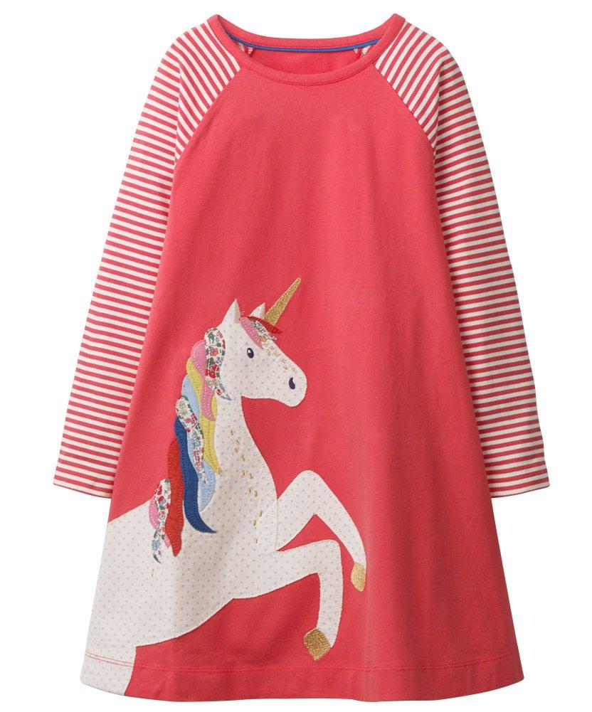 Fiream Girls Crewneck Long Sleeve Dress(160Pink,7T/7-8YRS)