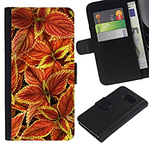 UberTech/Samsung Galaxy S6 SM-G920/Flower Floral Autumn Maroon Green Red/Cuero PU Delgado caso Billetera cubierta Shell Armor Funda Case Cover Wallet Credit Card