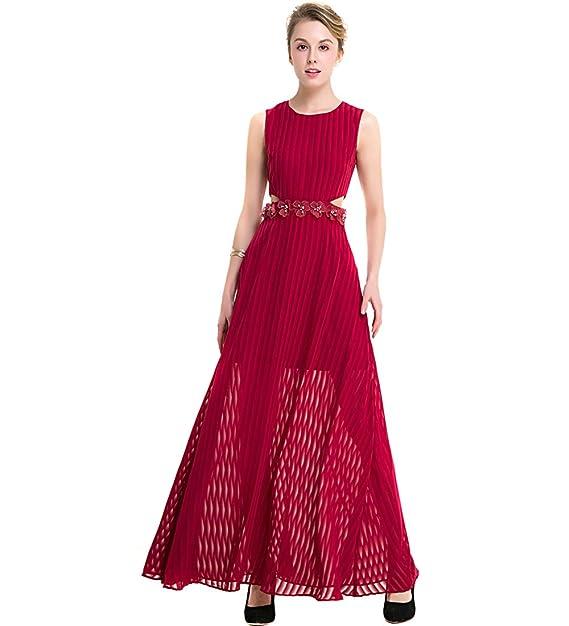 KAXIDY Elegante Gala Chiffón Mujer de Noche de Vestido Vestidos De Encaje Rojo (Small)