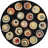 Safavieh Soho Collection SOH921A Handmade Modern Abstract Black and Multi Premium Wool Round Area Rug (6' Diameter)