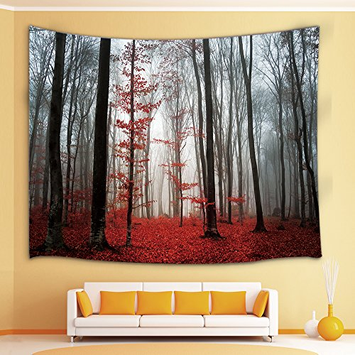 Price comparison product image Forest Decor Tapestry By JAWO Horror Gothic Red Forest Wall Art Hanging for Bedroom Living Room Dorm 71X60Inches Wall Blankets
