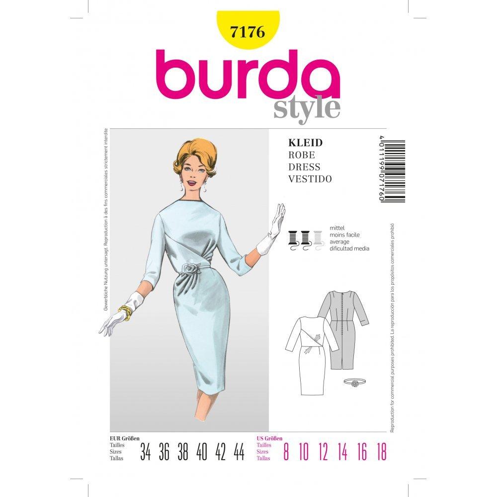 Burda 7176 Vintage patrón de costura vestido con cintura énfasis y ...