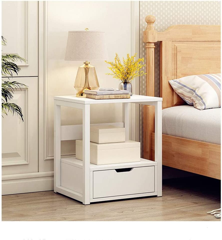 C-Easy 5-Tier Modern Nightstand with Drawer, Industrial Small End Table  Organizer, Bedroom Bedside Table Cabinet, Sofa Side Table,Solid Wood Night