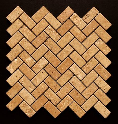 Noce 1X2 Travertine Tumbled Herringbone Mosaic Tile