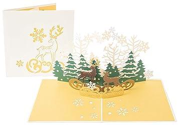 Amazon.com: PopLife - Tarjeta de felicitación de renos en el ...