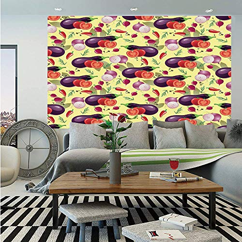 Floral Relish - SoSung Eggplant Wall Mural,Eggplant Tomato Relish Onion Going Green Eating Organic Tasty Preserve Nature Decorative,Self-Adhesive Large Wallpaper for Home Decor 83x120 inches,Multicolor