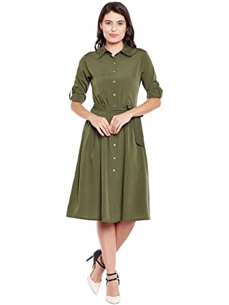 a0730f502a3 Wisstler Women s Olive Green Poly Crepe Shirt Dress with Belt Size- Small