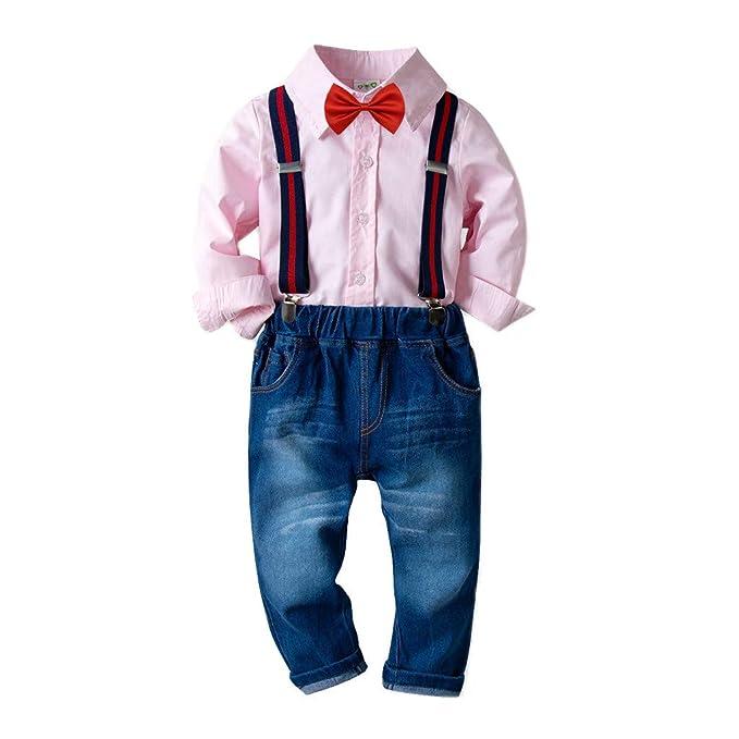 Bebés de Ropa Encantadora, YpingLonk Algodón Manga Larga Correa Camiseta Vaquero Conjunto de Cuatro Piezas para Bebé Niño Sudadera de Recién Nacidos ...