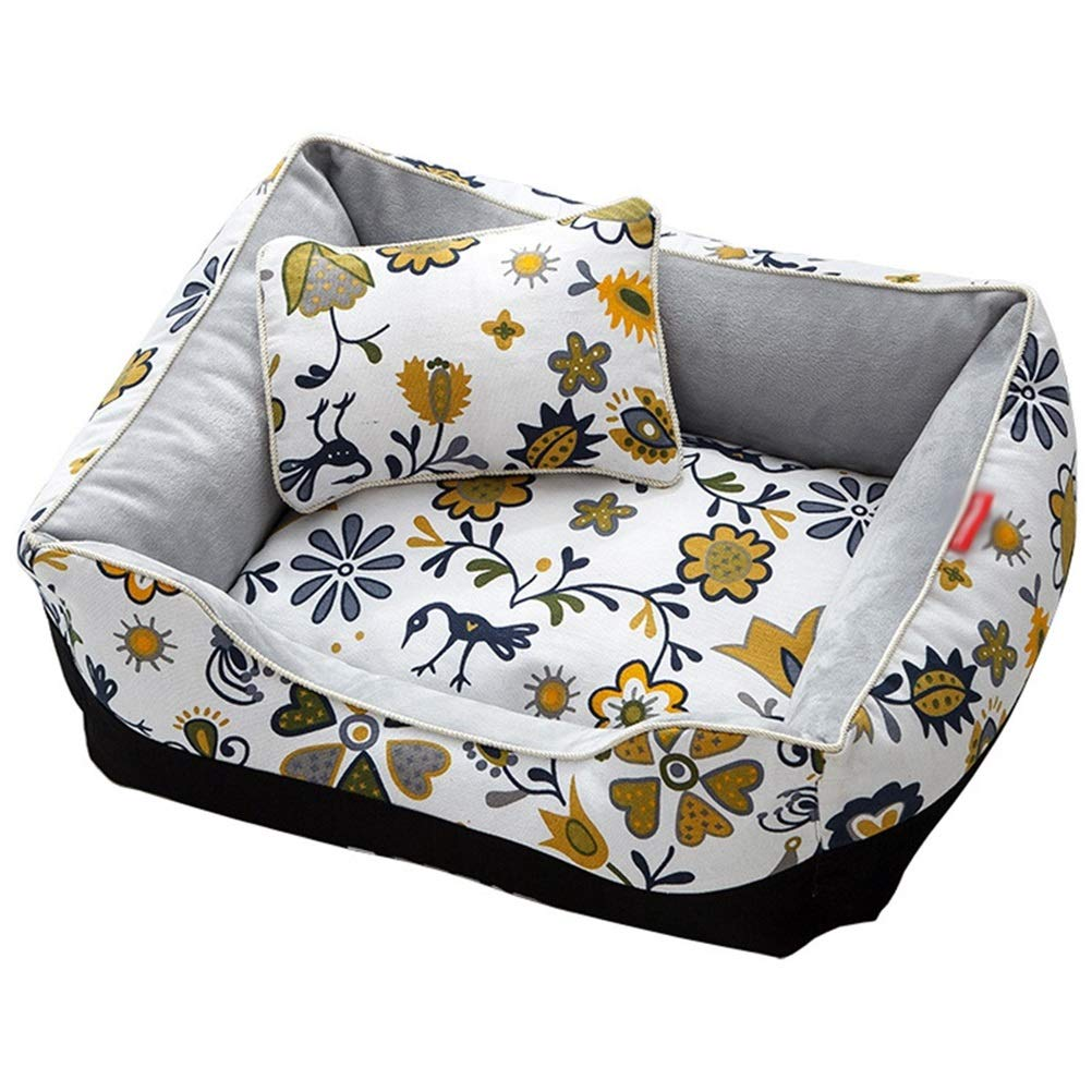 M Square Sun Flower Dog Bed Sofa Pet Bed Washable Washable Canvas Oxford Fabric PP Cotton Print Pattern Dog Mat (Size   M)