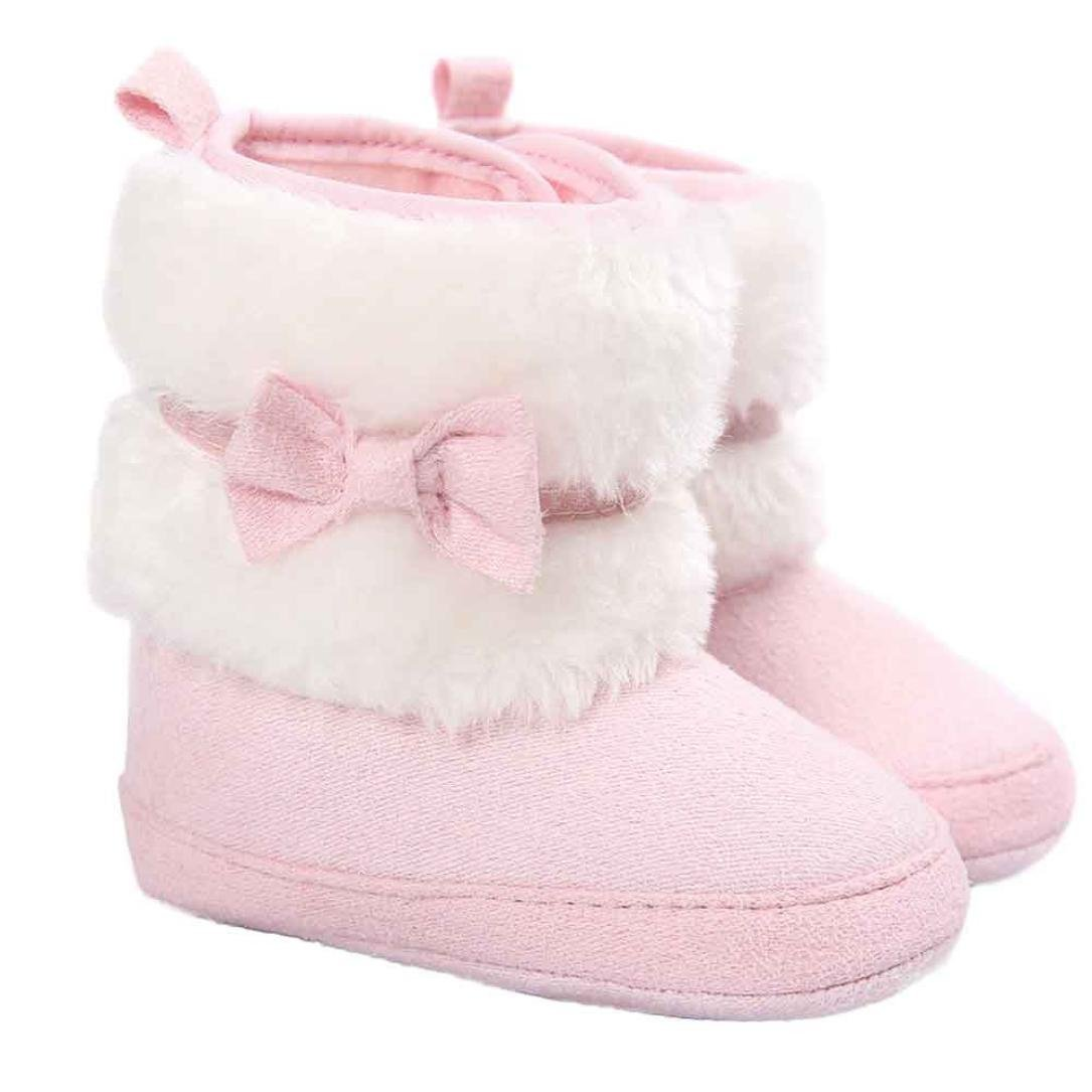 Egmy Baby Shoes Bowknot Warm Soft Sole Snow Boots Soft Crib Shoes Toddler Boots