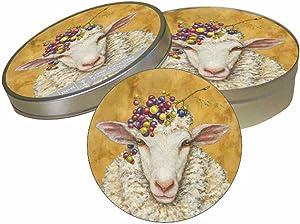 "Paperproducts Design Decorative Coaster Set – Tabletop Disposable Pulpboard Beverage Coasters – Cocktail Coasters For Birthdays, Parties – Set of 6 – 4"" Round, Vicki Sawyer Vineyard Sheep Design"