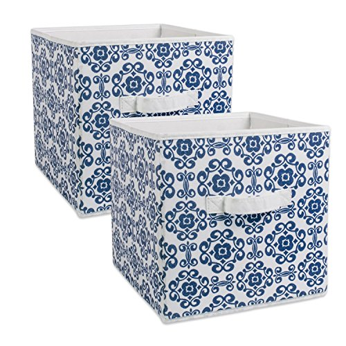 DII Fabric Storage Bins for Nursery, Offices, & Home Organization, Containers Are Made To Fit Standard Cube Organizers (13x13x13) Scroll Nautical Blue - Set of 2
