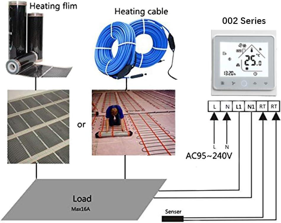 BECA 002 Serie 3 / 16A Pantalla táctil LCD Agua/Calefacción eléctrica/Caldera Termostato de control de programación inteligente con conexión WIFI (Calefacción ...