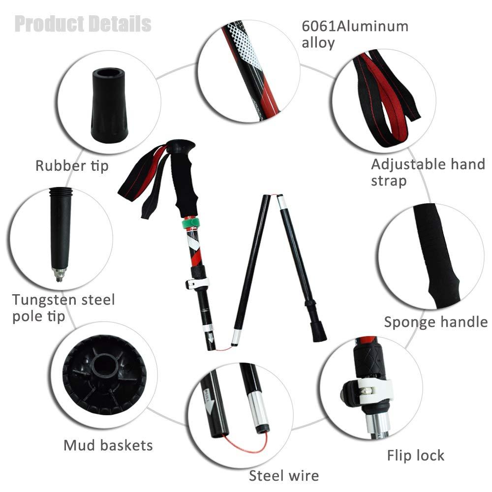 Geertop Collapsible Walking Stick Portable Aluminum Trekking Pole Lightweight Folding Cane Holder Anti Shock /& Quick Lock Adjustable Hiking Poles Stick with Comfortable Handle