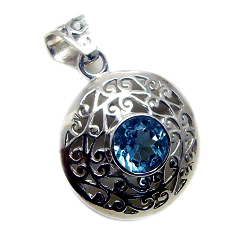 GEMSONCLICK Real Blue Topaz Sterling Silver Pendant Charms December Birthstone Victorian Style Necklace