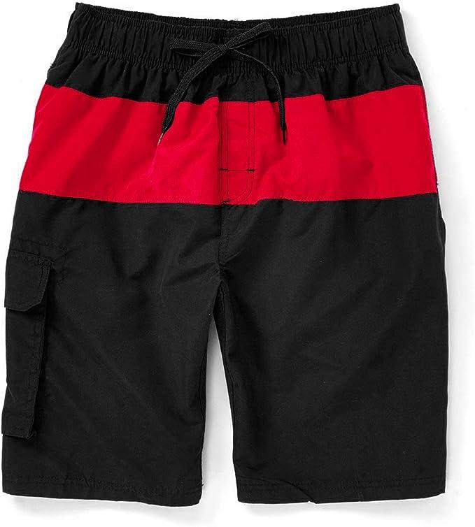 black red swim trunk