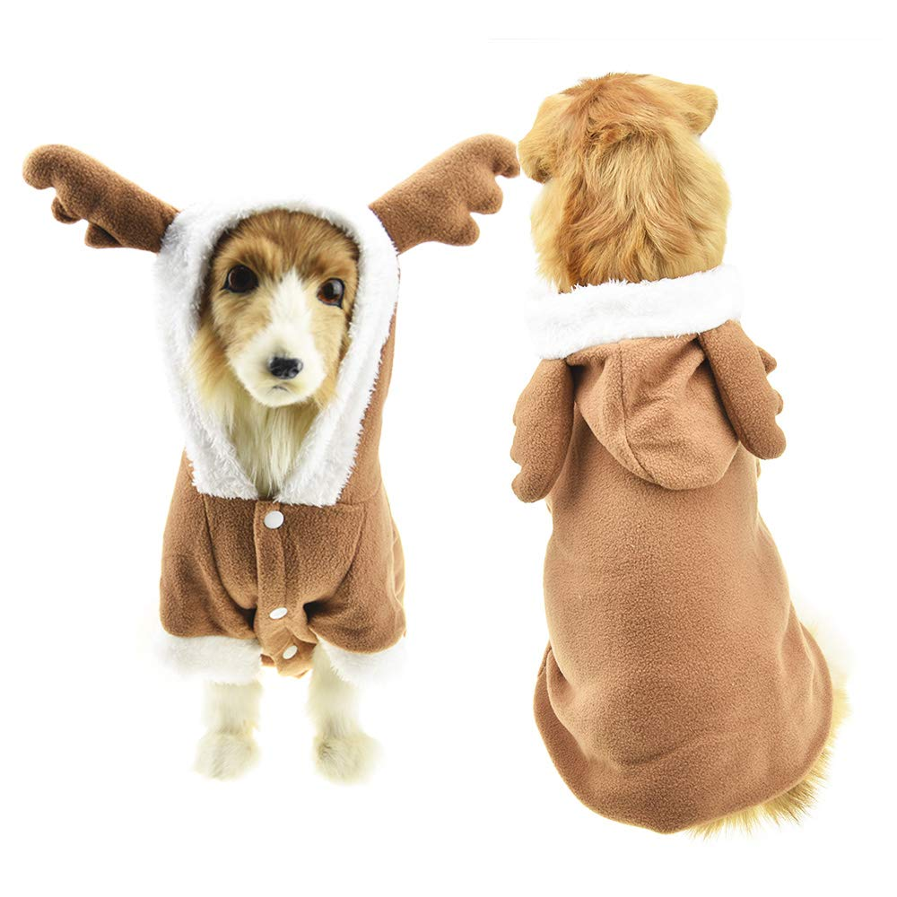 Brown Elk 5XL Brown Elk 5XL FLAdorepet Large Dog Christmas Elk Costume with Antler Warm Fleece Winter Jacket Coat for Medium Large Dog Labrador (5XL, Brown Elk)