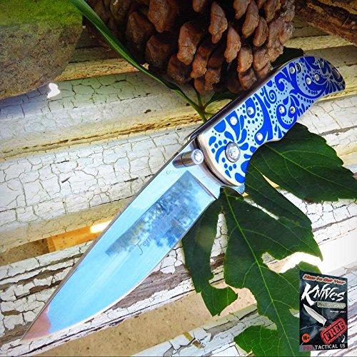 - Pocket Elite Spring Assisted Folding Knife Femme Fatale Blue Rhinestone Women Girl Lady + free eBook by ProTactical'US
