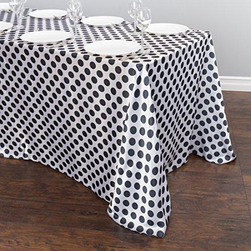 (90 x 156 in. Rectangular Polka Dot Satin Tablecloth White /)