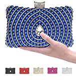 Pulama Womens Metallic Box Clutch Sparkling Rhinestone Evening bag Faux Pearl Minaudiere With Interlayer (Royal Blue)