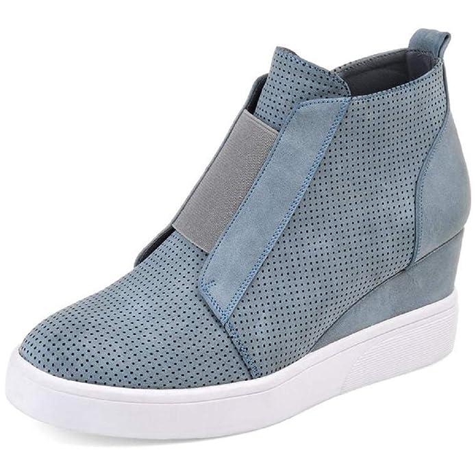 Botines de Cuña Plataforma Piel Zapatillas Deportivas de Mujer Casual Tacon Medio 4.5cm Ankle Boots Invierno Ancho Sneakers Beige Azul Rosa 34-43: ...