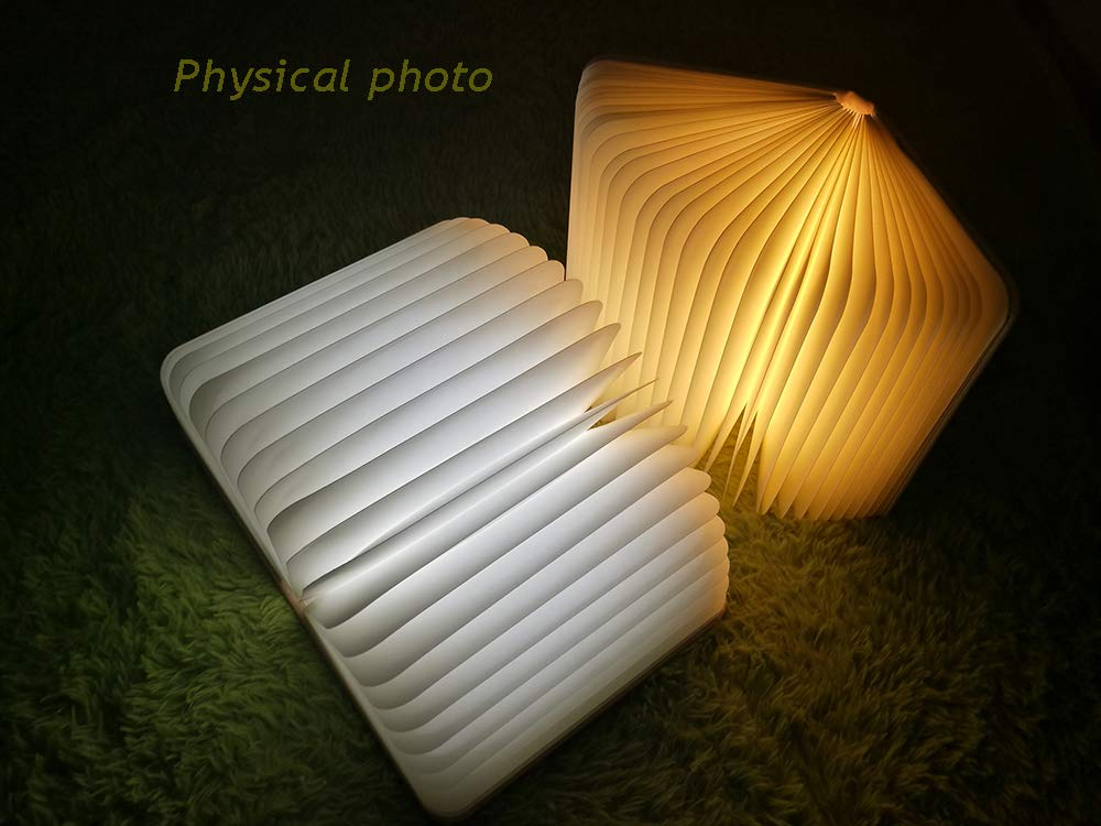 Book Light,Folding Book Lamp, Night Light Magicfly USB Rechargable Book Shaped Light ,2 Colors Led Table Lamp for Decor, Magnetic Design, Environmentally Material by MOMO