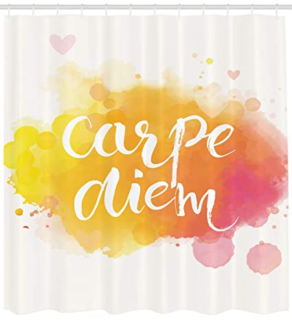 Ambesonne Yellow And White Shower Curtain Watercolor Style With Carpe Diem Seize The Day Enjoy