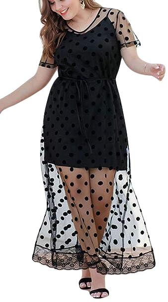 842e261ca4 Amazon.com: Jotebriyo Womens Mesh Polka Dot Print Short Sleeve Plus Size  Split Evening Party Maxi Dress: Clothing