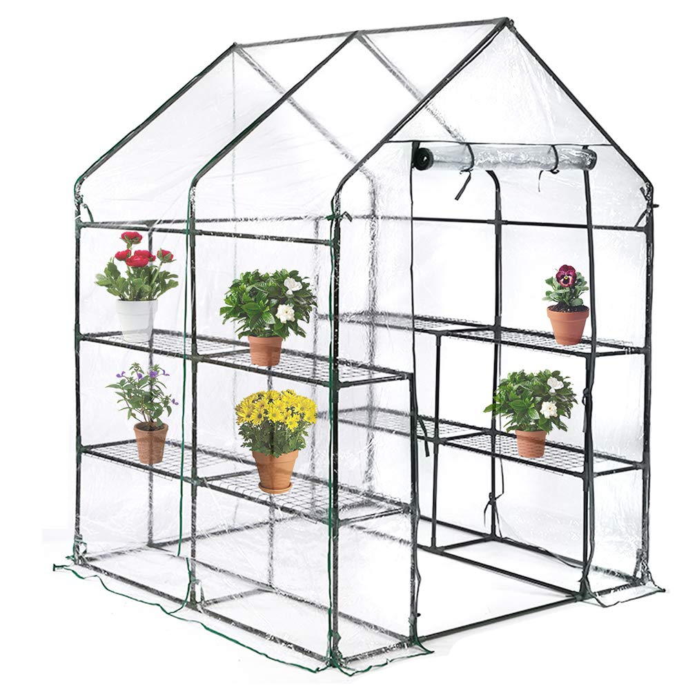 BestMassage Portable Mini Greenhouse Indoor Outdoor Plant Shelves Tomato Canopy Walk-in Garden Green House for Winter(L56.5''W56.5''H76'') by BestMassage