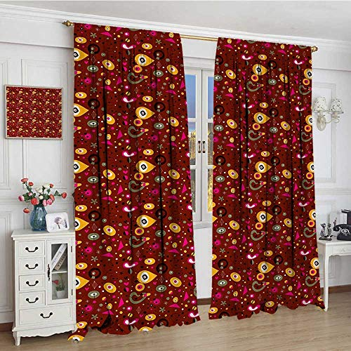 (youpinnong Retro Patterned Drape for Glass Door Fifties Sixties Inspired Composition of Abstract Shapes on Dark Dotted Background Waterproof Window Curtain 84