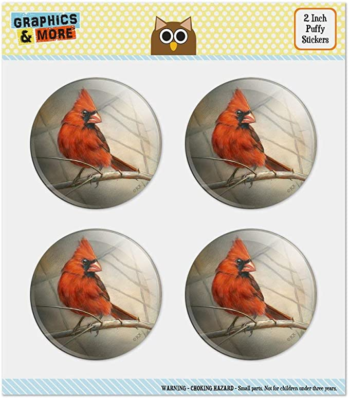 Red Cardinal Bird On Branch Heart Planner Scrapbook Craft Stickers