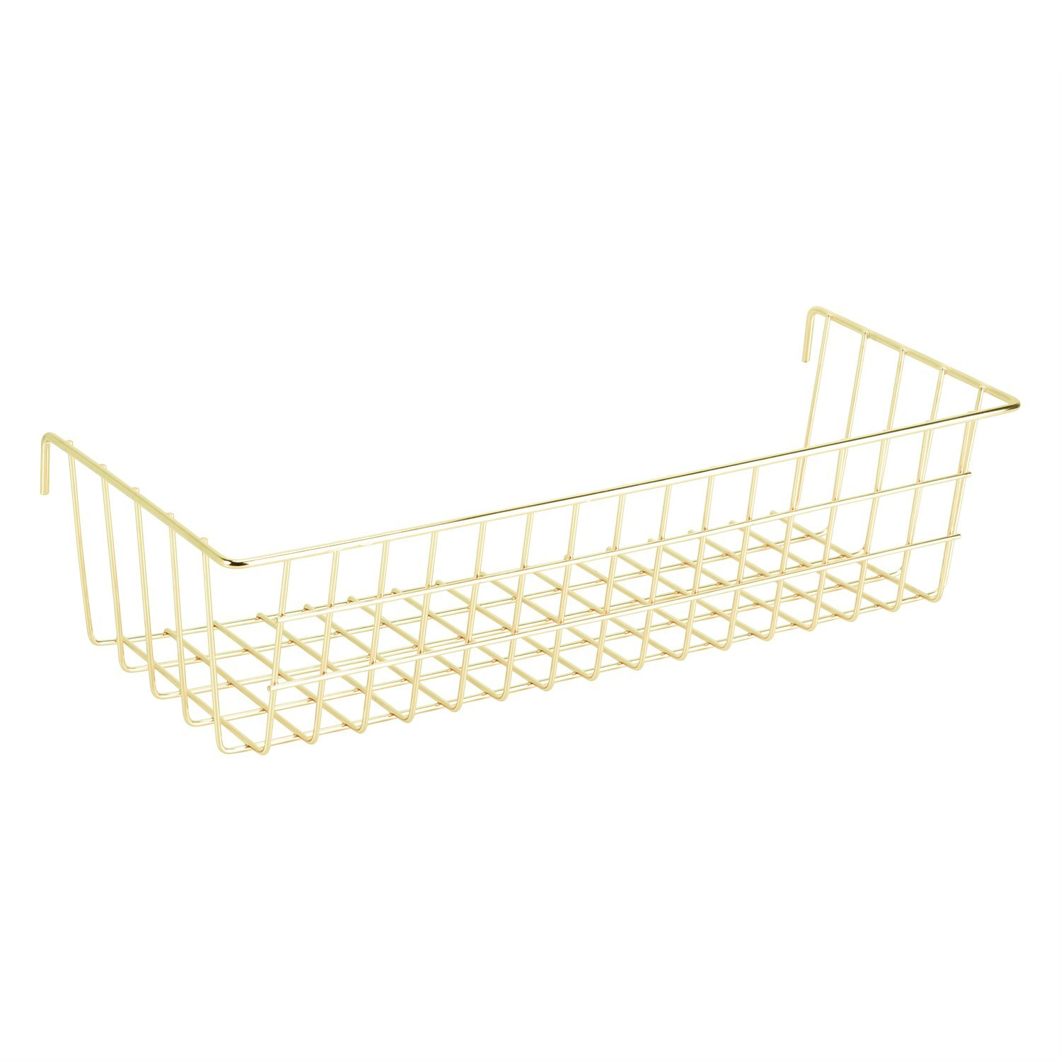 Nugoo Gold Hanging Basket for Wire Wall Grid Panel, Multifunction Wall Storage Display Decorative Basket, Size 14.6
