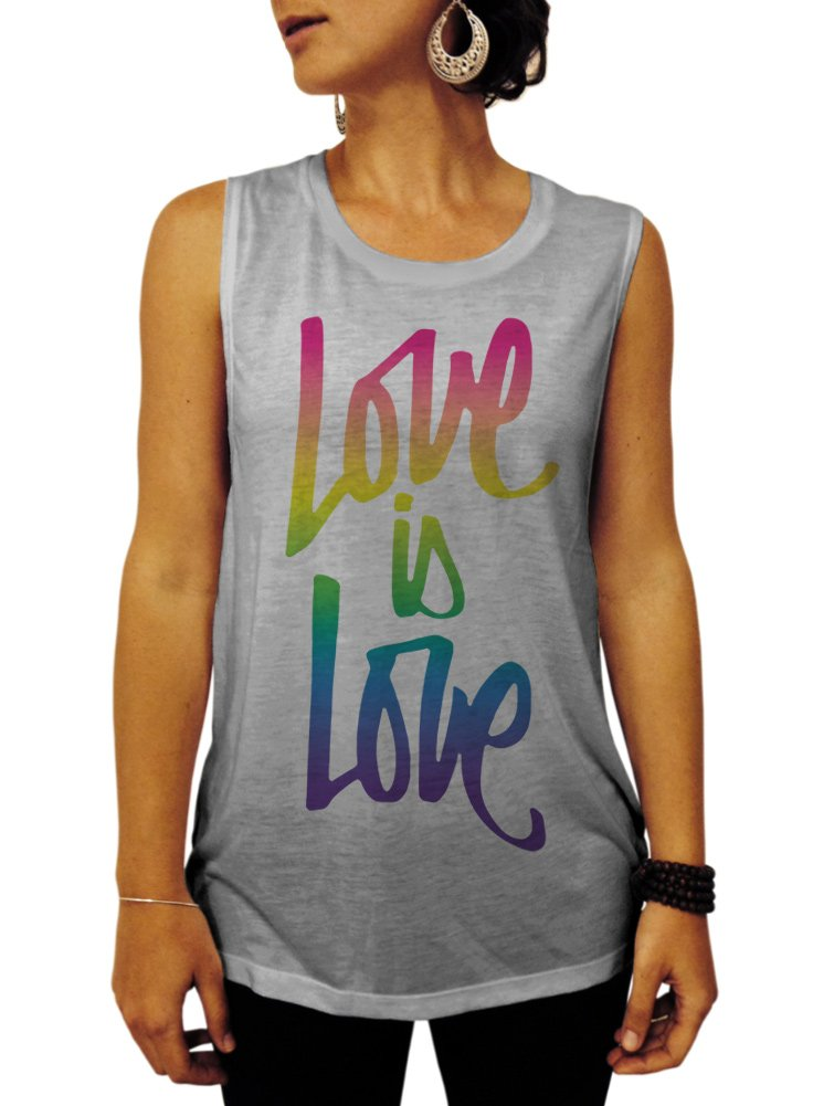 Pride Shirt, Love is Love in Script Women's Muscle Tee Shirt - X-Large Gray Full Color Print
