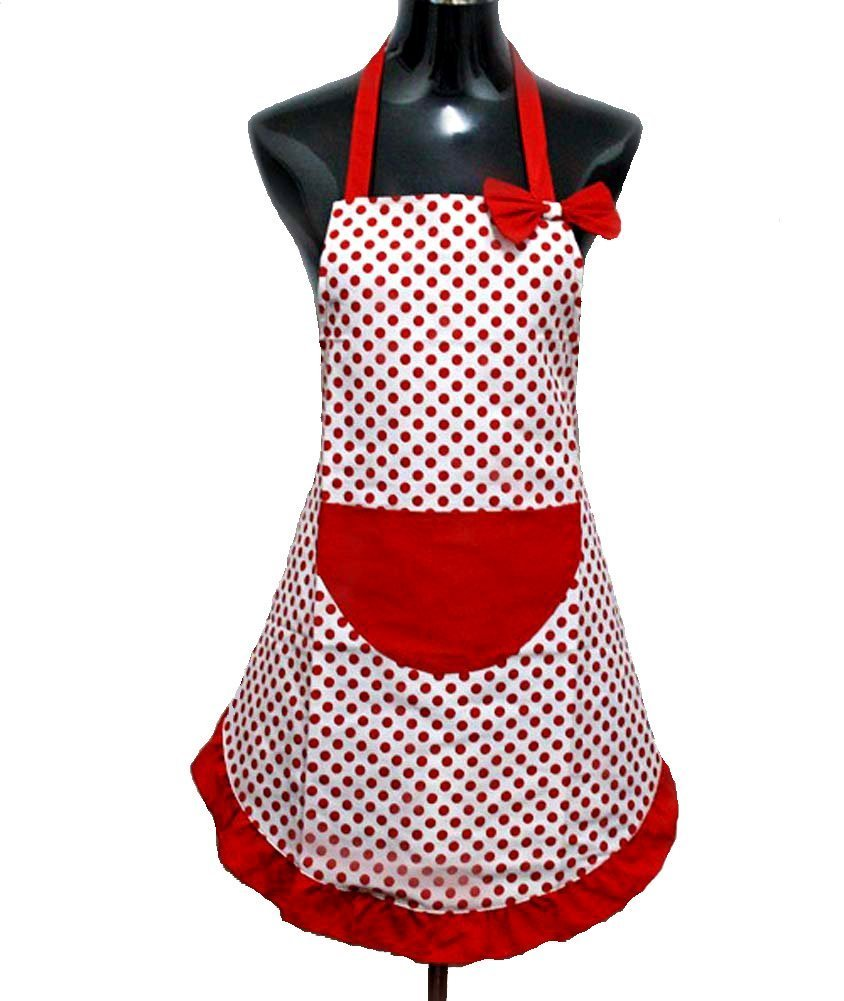 Hyzrz Hot Lovely Lady Cheap Red Dot Kitchen Flirty Canvas Restaurant Cake Apron for Women Chef Bib Funny COMINHKPR48338