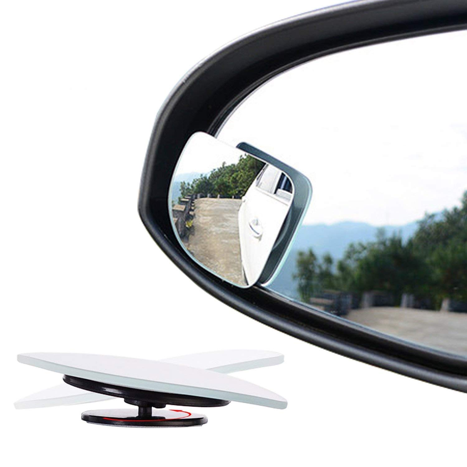 Ertek Blind Spot Mirror for Cars 2 Flameless Square Fan Shape Glass Car Side Mirror for Truck Small Convex Wide Angle Rear View Car Mirrors 1 Pair, Right/&Left